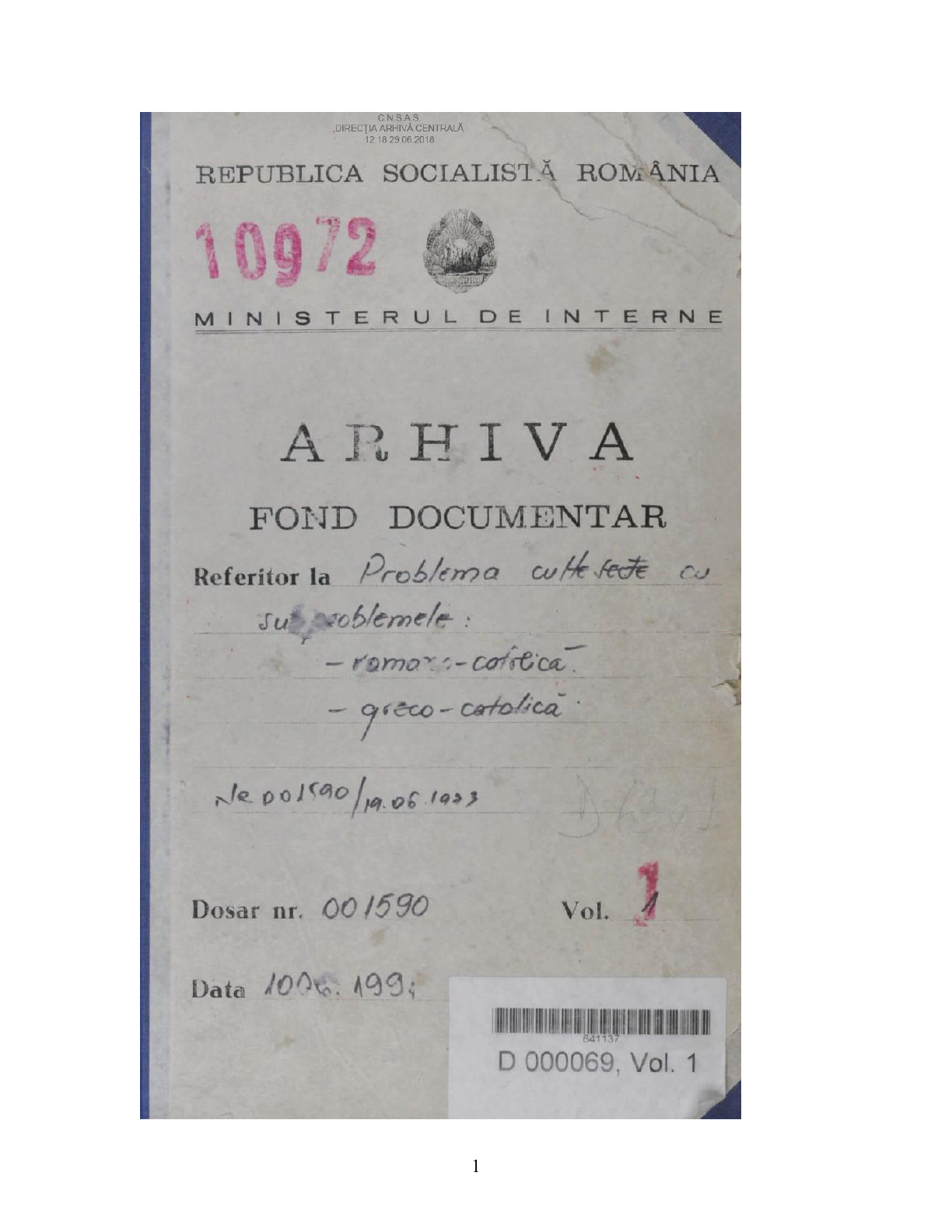Front cover of one of the files of the Romanian Greek-Catholic Church Ad-hoc Collection