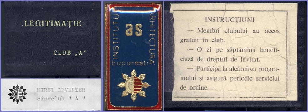 Mirel Leventer - Club A, membership card and badges, 1970