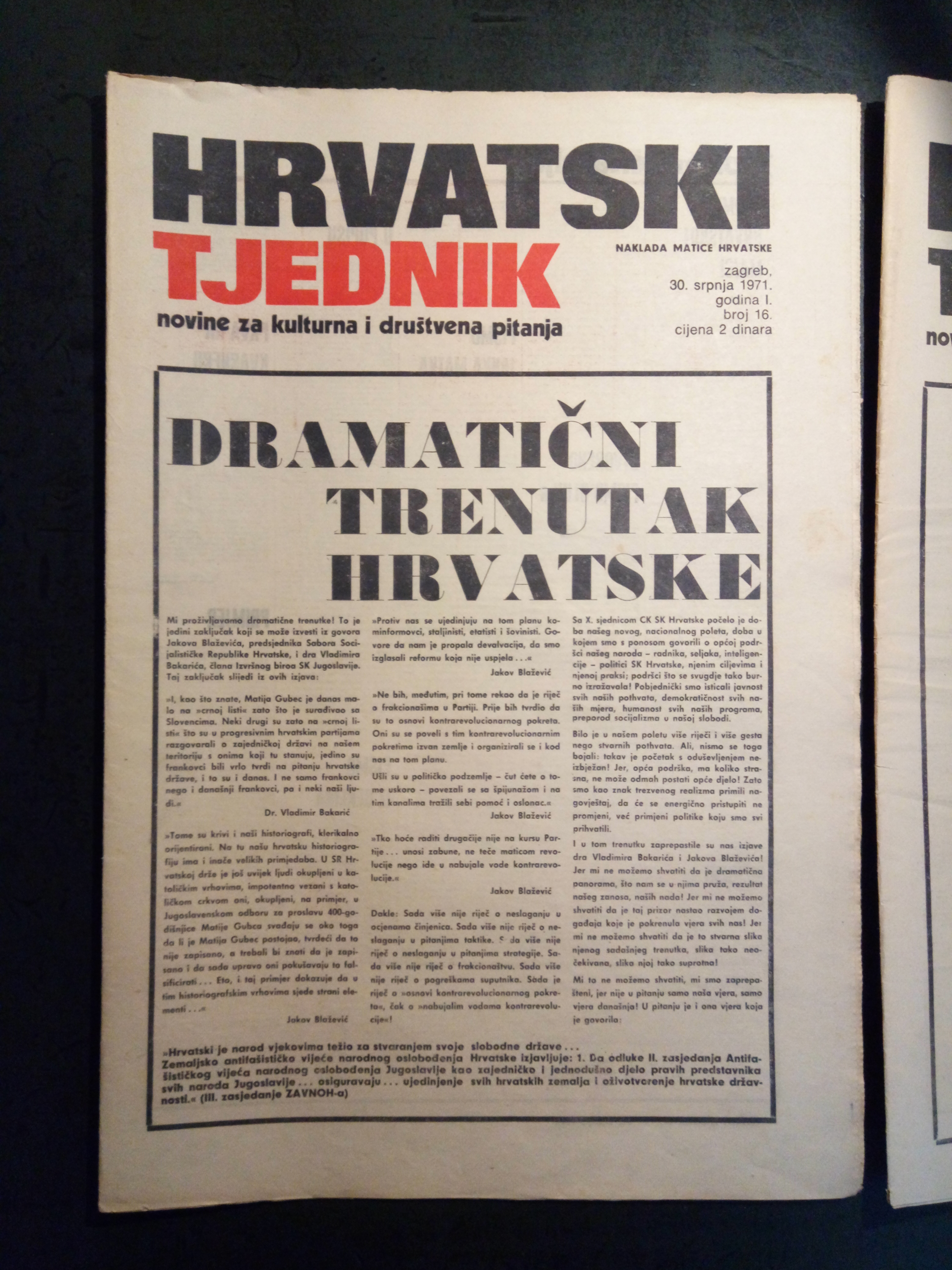 Cover page of the last published issue of the journal Hrvatski tjednik, 1971, Matica hrvatska Collection
