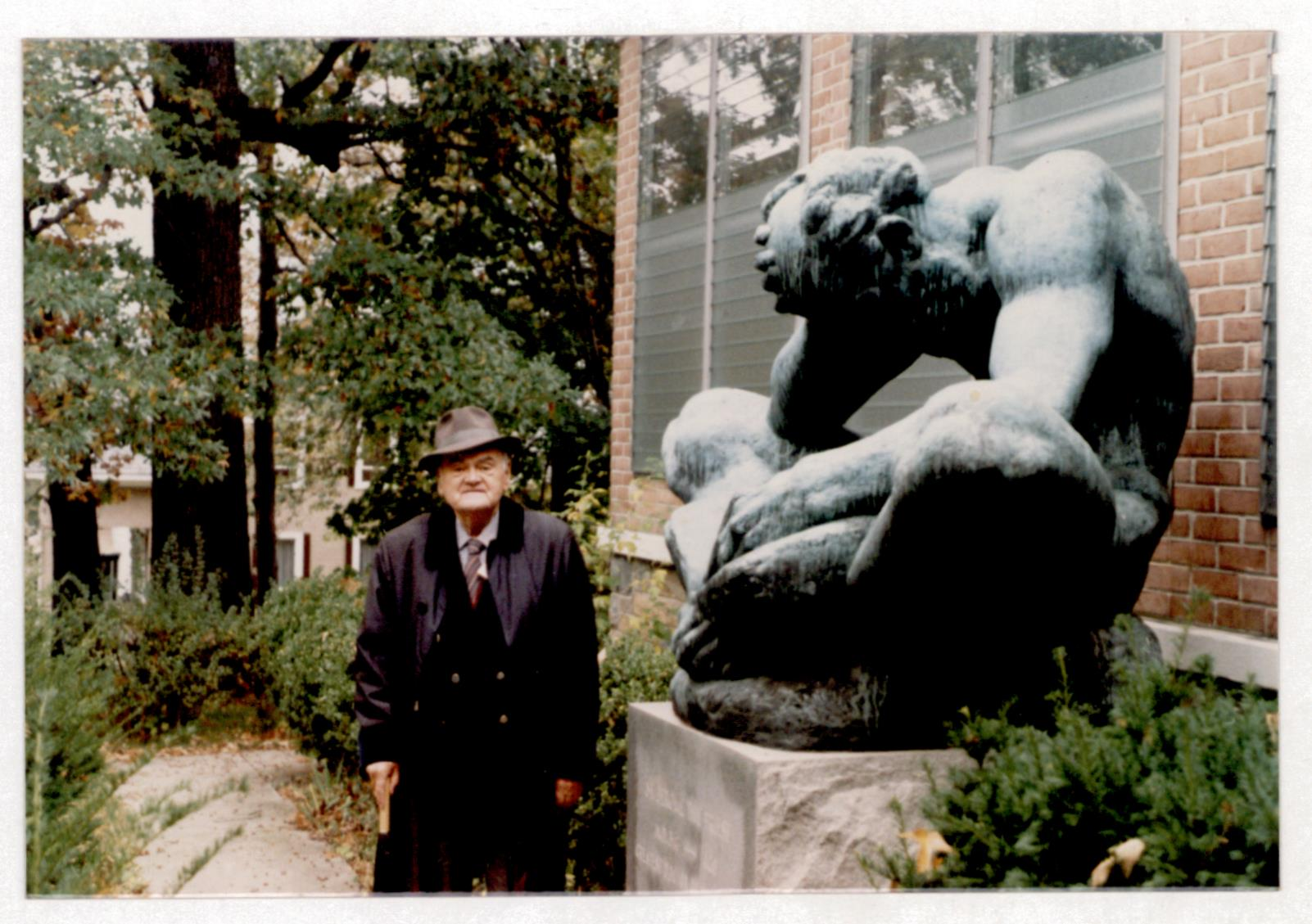 Bogdan Radica in front of the statue of Saint Jerome of Dalmatia in the 1980's in the garden of a Franciscan Monastery in Washington. The statue was made by Ivan Mestrović, also a Croatian emigrant. Photo source: HR-HDA-1769, Bogdan Radica Personal Archive Fund, box 36.