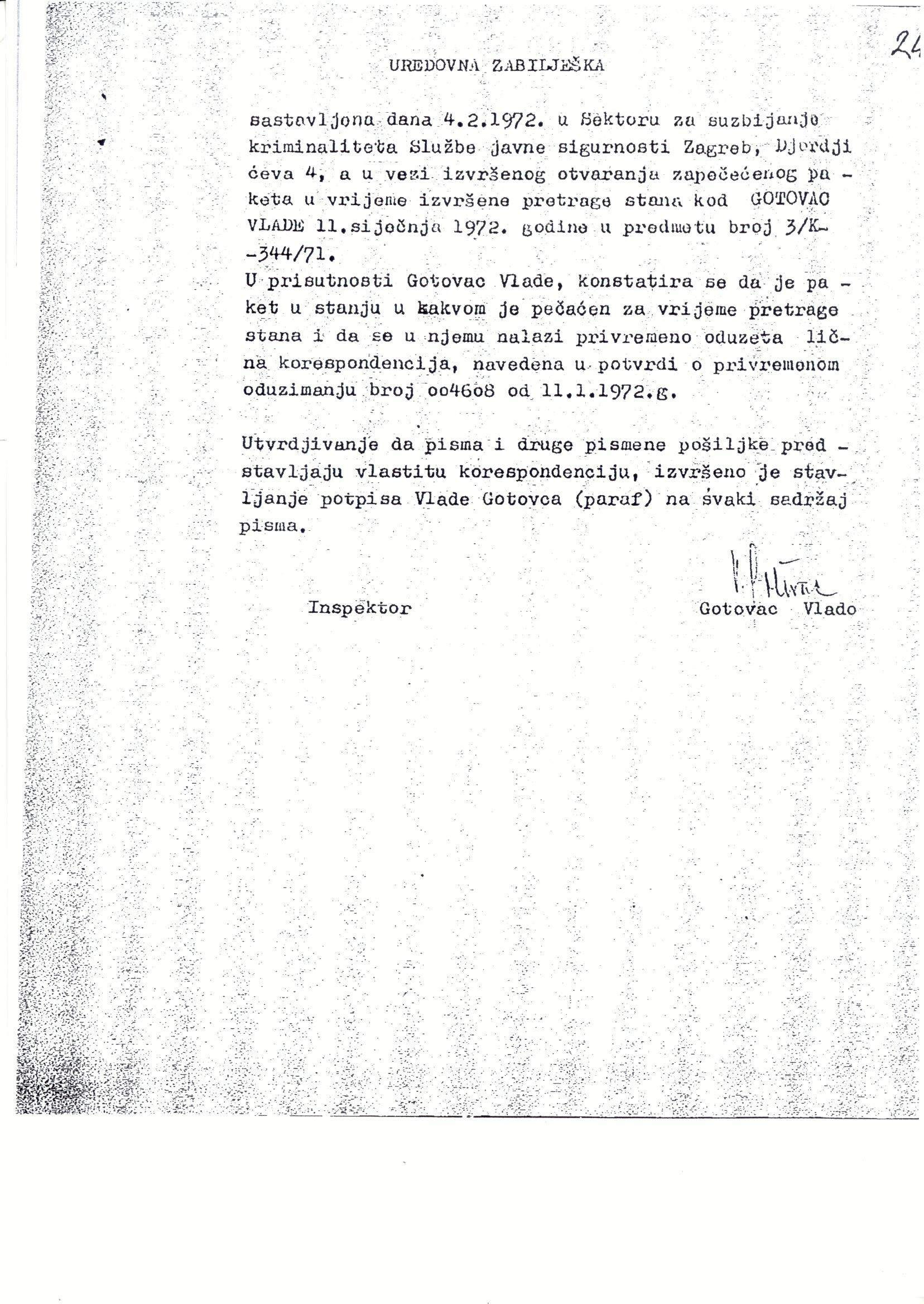 Official memorandum in Vlado Gotovac's personal file on personal correspondence seized during a search of his home. 4 February 1972. Archival document.