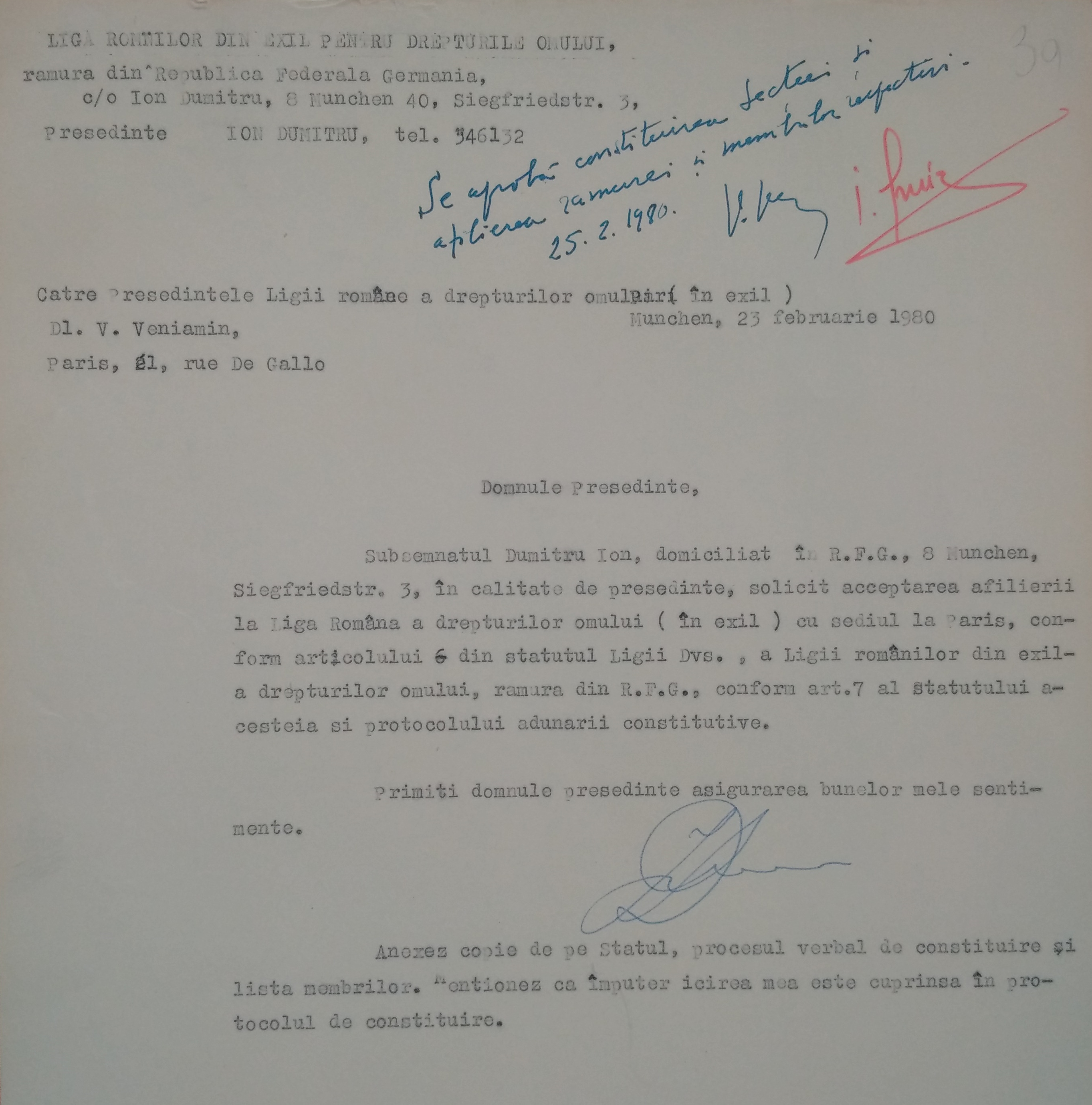 Letter from Ion Dumitru to Virgil Veniamin, 23 February 1980, Munich
