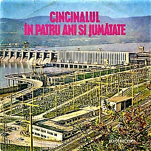 Cover of the vinyl dics with the patriotic song Cincinalul în patru ani și jumătate (Five-year plan in four and a a half years), which Dan Petrescu and others used to sing 'in mockery' during Dialog evening parties