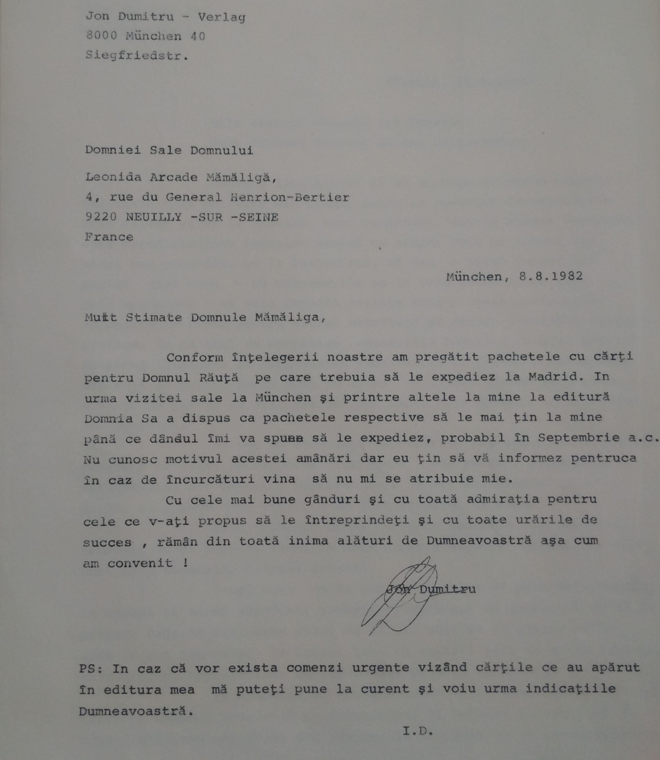 Letter from Ion Dumitru to Leonid Mămăligă, 8 August 1982, Munich