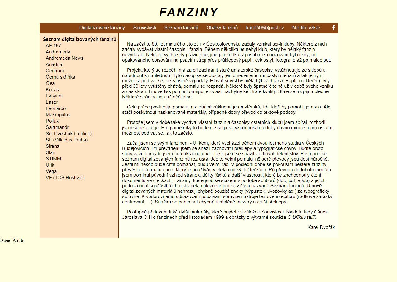 website Fanziny.4fan.cz