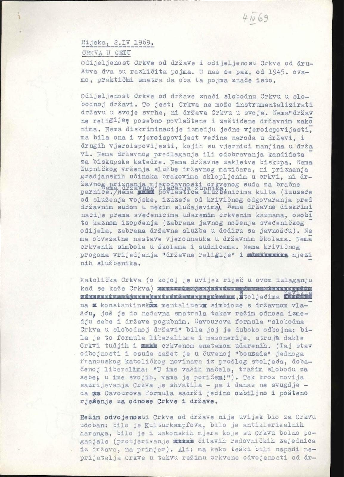 """Rendić, Smiljana. """"Crkva u getu"""" (The Church in a ghetto), 1969. Manuscript"""