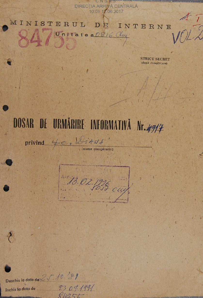 """Front cover of the """"informative surveillance file"""" opened by the Securitate on Doina Cornea in 1981"""