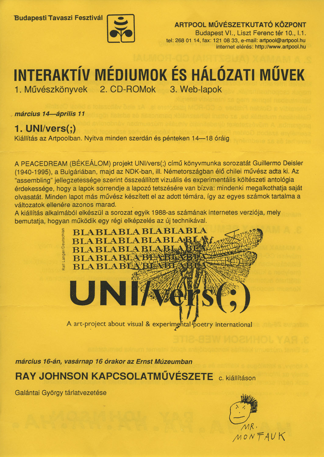 Invitation  for the series of events Interactive Mediums and Net-Works, Artpool Art Research Center, Budapest 1997 (1st and 2nd page)