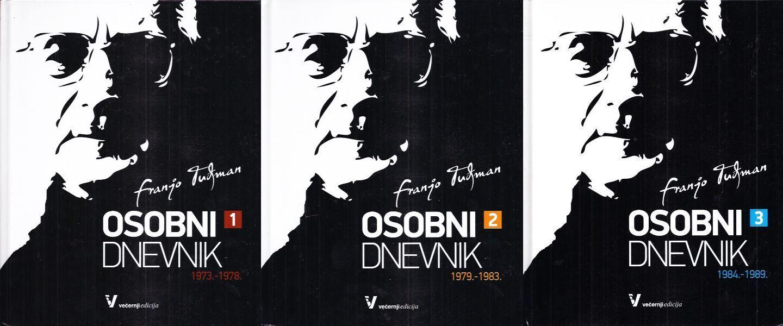 Cover pages of tree published volumes of Franjo Tuđman's personal diary.Tuđman, Franjo. 2011. Osobni dnevnik: 1973. - 1989. (Personal diary: 1973-1989). Vol. I-III. Zagreb: Večernji posebni proizvodi.