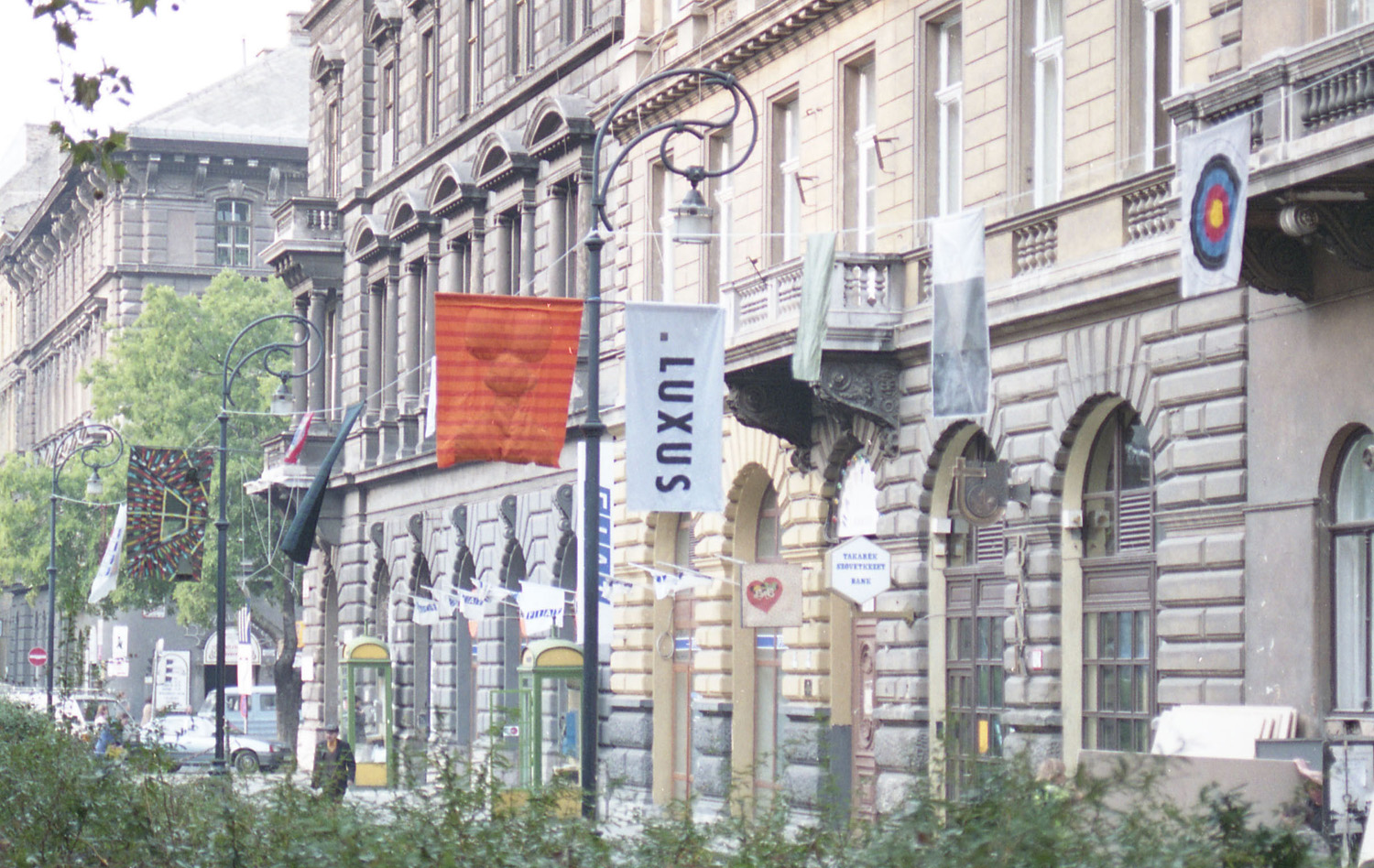 View of Fluxus Flags on the Liszt Ferenc square, Budapest Autumn Festival, 1992