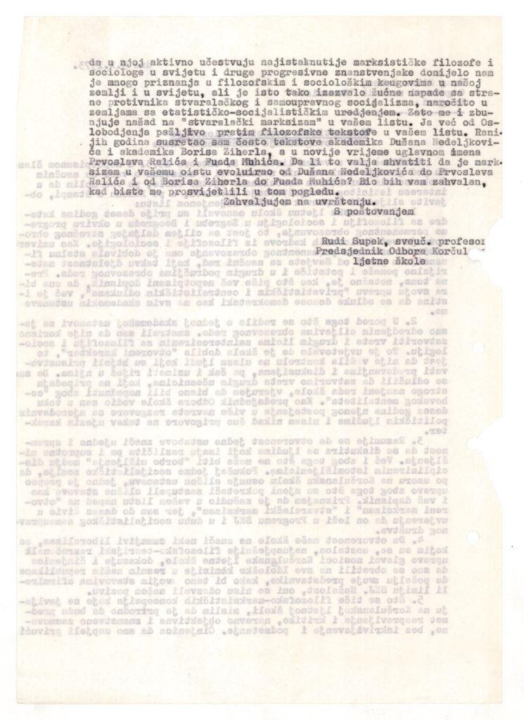 Prva stranica pisma Rudija Supeka odgovornom uredniku lista Komunist Milanu Rakasu, 9. 10. 1973.