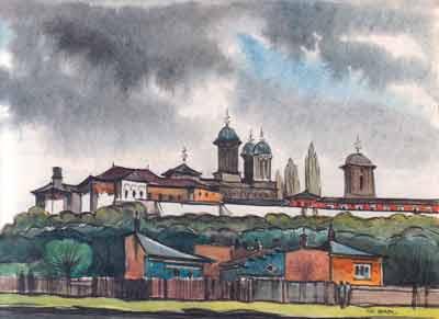 """Reproducere a acuarelei """"Mănăstirea Văcăreşti înainte de furtună"""", pictată de Gheorghe Leahu în 1976"""