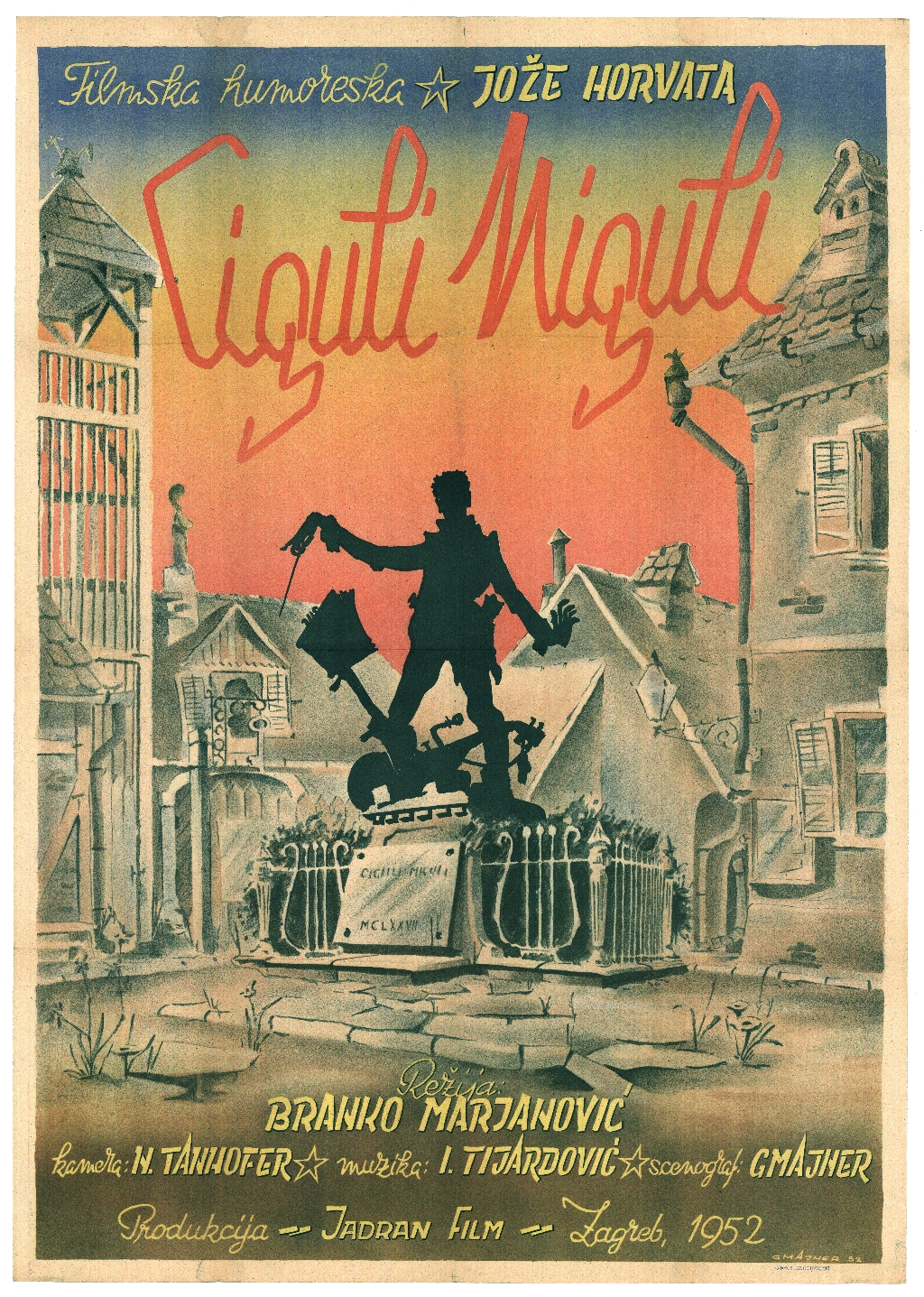 Poster for the movie Ciguli miguli from 1952, the first banned film in socialist Croatia. The film, directed by Branko Marjanović and written by Joža Horvat, was meant to be the first satirical production in post-World War II Yugoslav cinema. It criticised Soviet-type bureaucracies. It was not granted a permit for public screening until 30 April 1977. It was broadcast for the first time on national television in 1989.