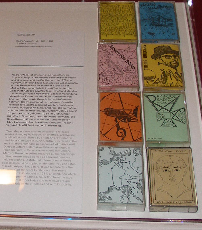 The eight program edition of Radio Artpool on audio cassettes (1983-1987) exhibited at 'Notes from the Underground', Akademie der Künste, Berlin, 2018.
