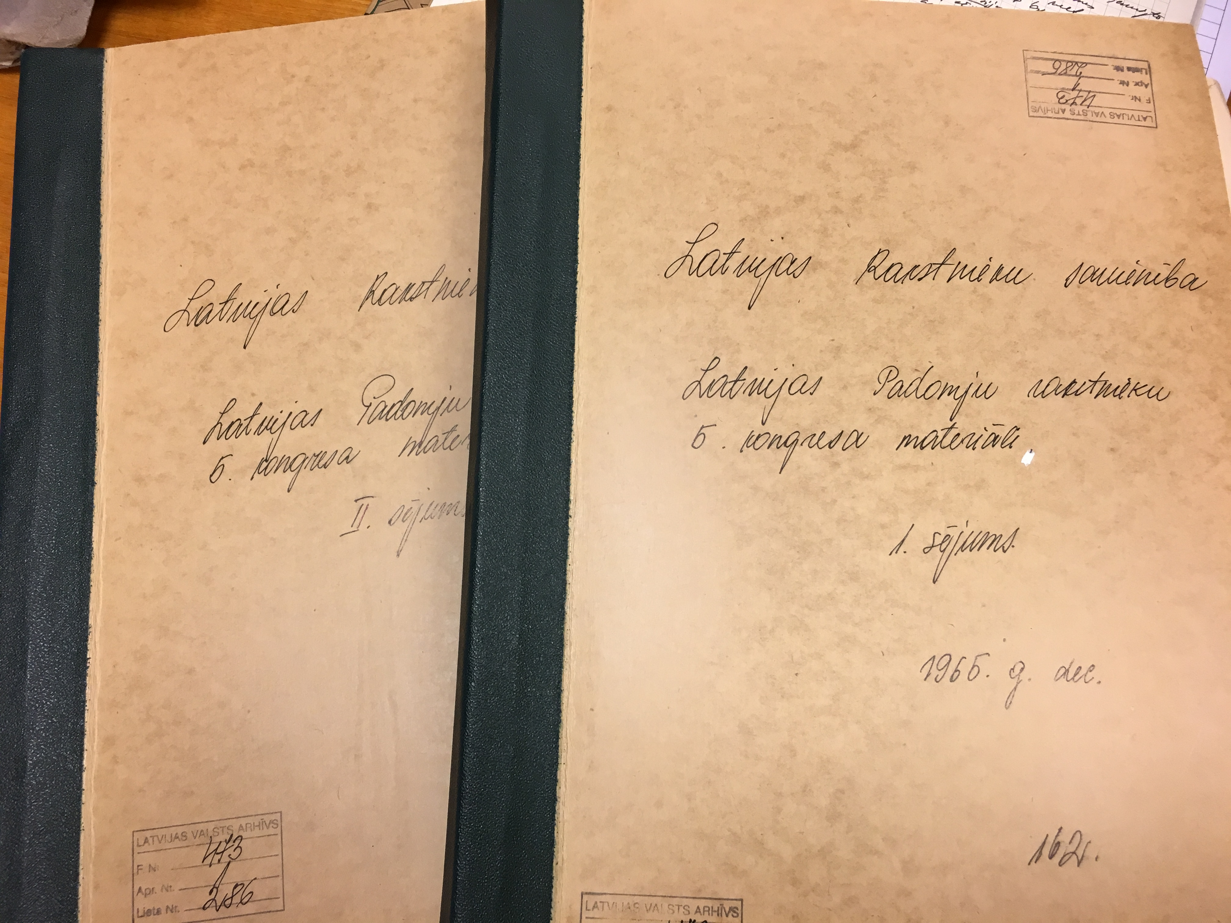Files of the 5th Congress of the Latvian Soviet Writers' Union in December 1965