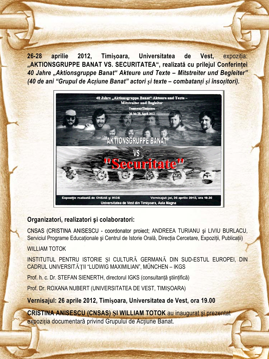 Poster of the exhibition: Aktionsgruppe Banat versus Securitatea, Timișoara, 26–28 April 2012