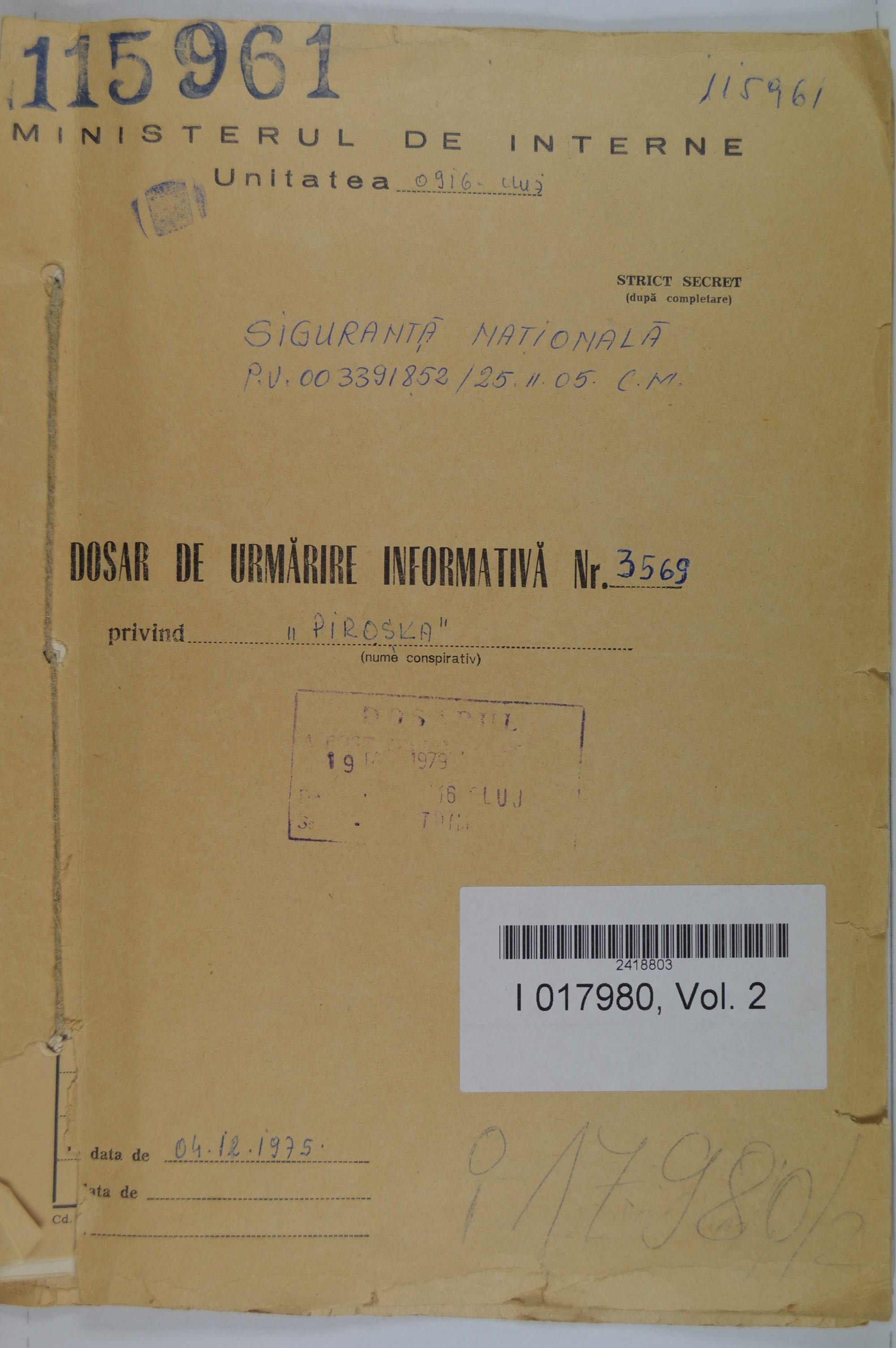 Front cover of Gyimesi's informative surveillance file opened by the Securitate in 1975