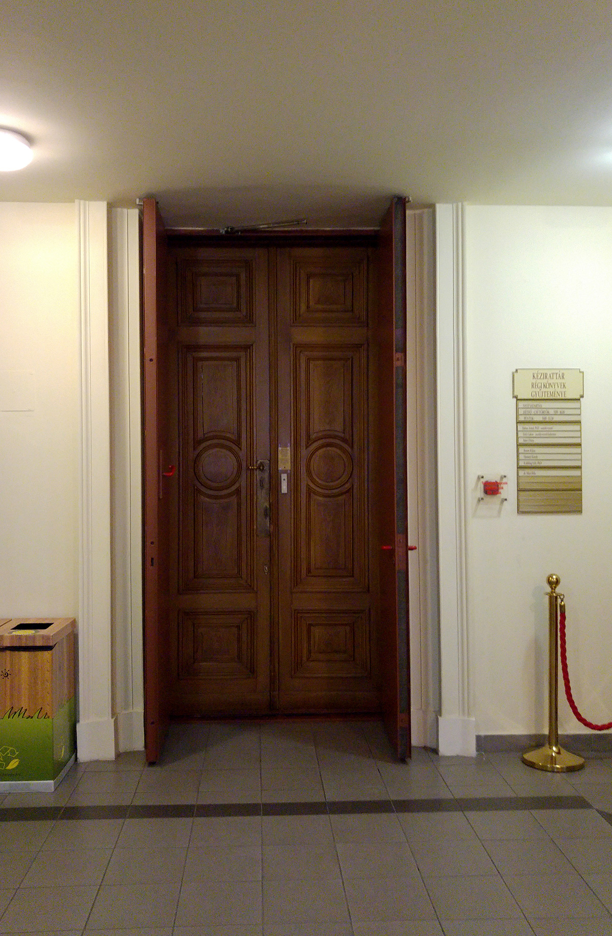 The entrance of the Department of manuscripts and rare books at the headquaters of the Hungarian Academy of Sciences, Budapest