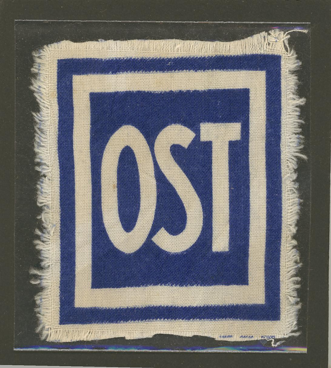 "Patch used by Nazi Germany to identify forced laborers from ""the East"" (OST-Arbeiter). Cloth."
