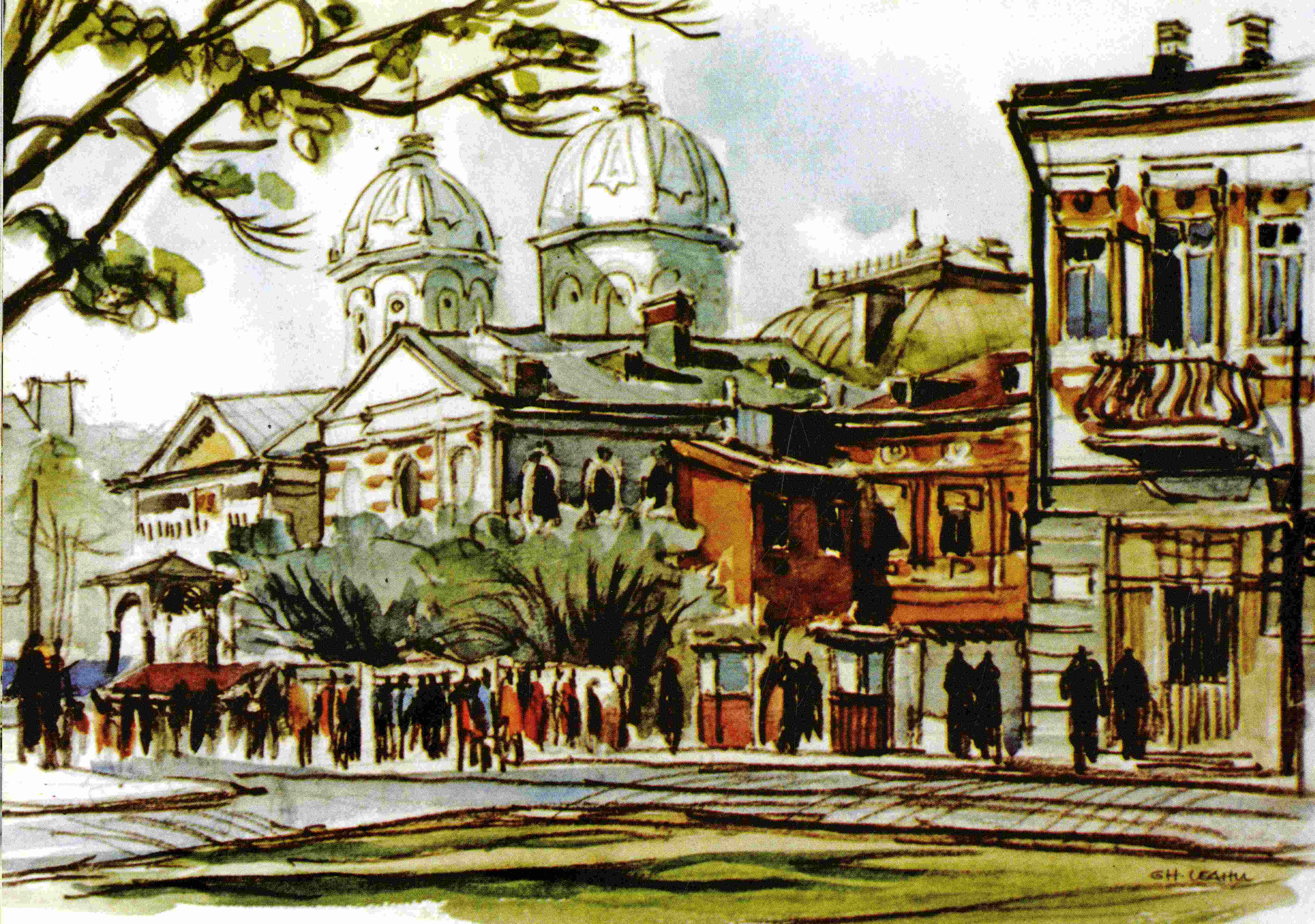 Reproduction after an watercolour painted by Gheorghe Leahu which represents Sfânta Vineri (Saint Friday) Church demolished in 1986