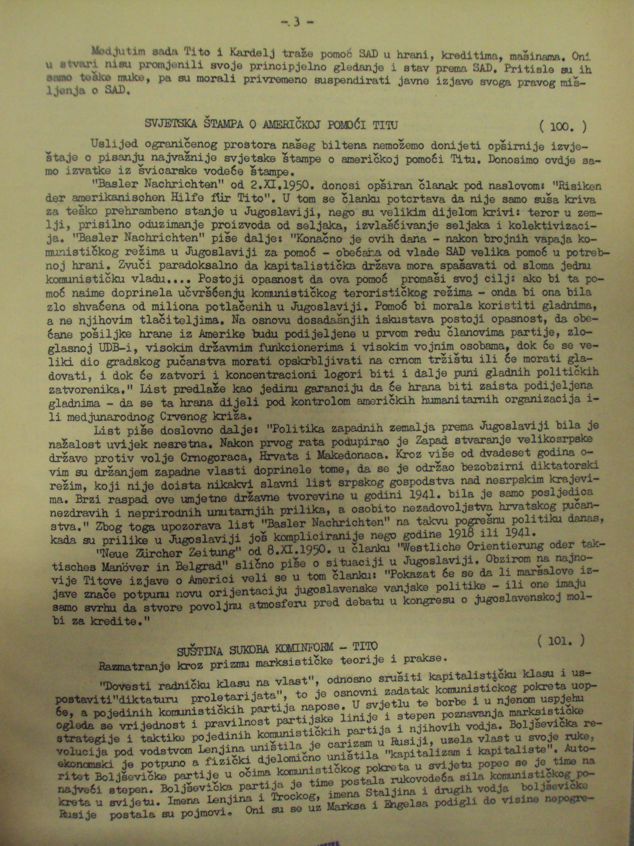 "Juretić, Augustin. ""Suština sukoba Kominform – Tito"" [The essence of the Cominform conflict – Tito] (Hrvatski dom), 1950. Article"