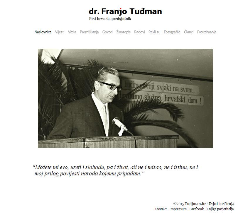 Franjo Tuđman Website screenshot (2013)