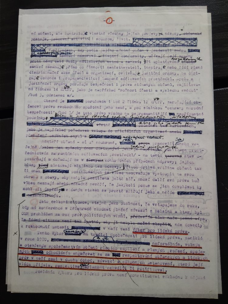 First version of Charter 77 with notes from Pavel Kohout and Václav Havel
