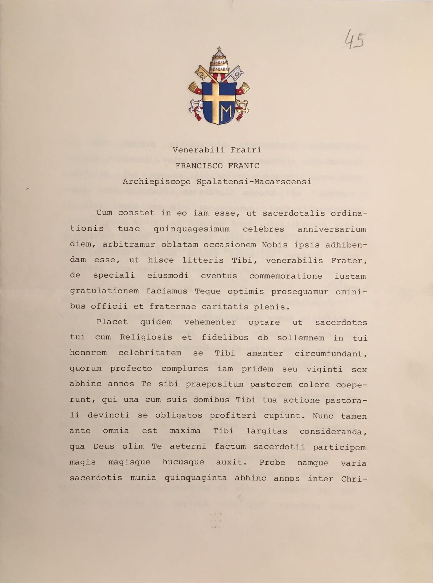 Pismo pape Ivana Pavla II. od 15. studenoga 1986. u povodu 50. godišnjice Franićeva ređenja
