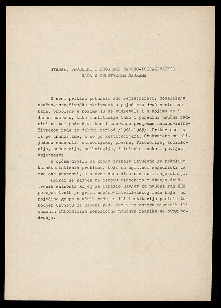 """""""The Condition, Problems and Programs of Scholarly Research in the Social Sciences,"""" study, 1960"""
