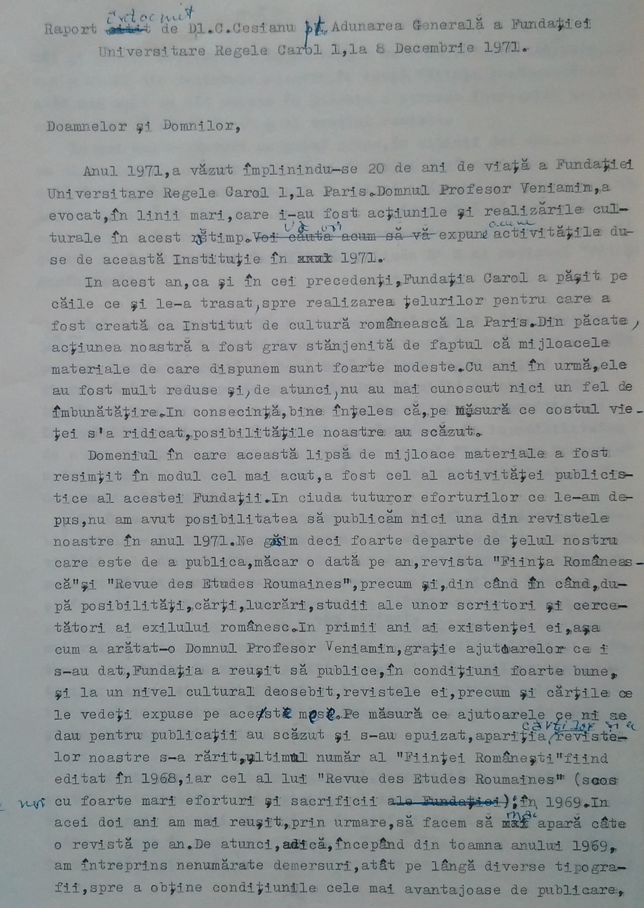 Report by Constantin Cesianu for the General Assembly of Carol I Royal University Foundation, Paris, 1971
