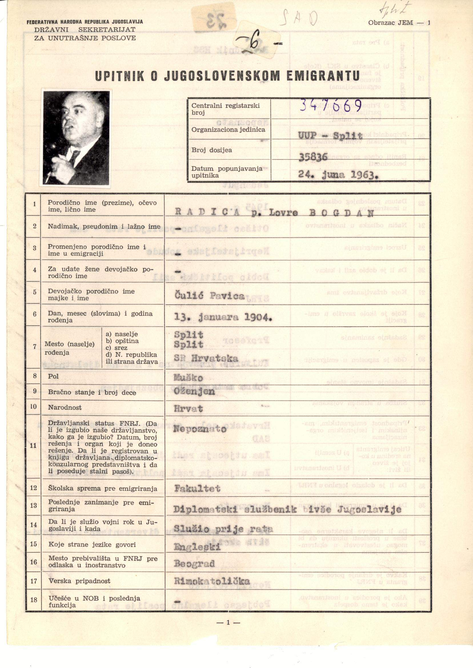 Questionnaire on the Yugoslav emigrant in Bogdan Radica's intelligence file. 24 June 1963. Archival document.