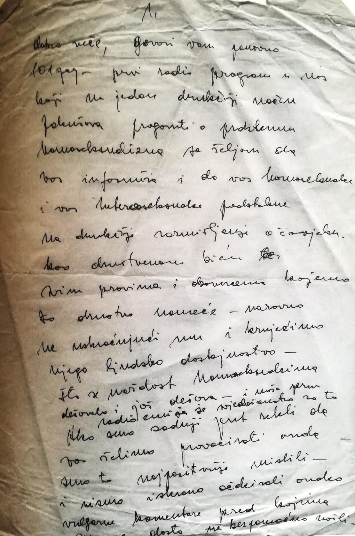 "Handwritten note for ""Frigidna utičnica"" [The Frigid Socket], the first radio show on homosexuality in Yugoslavia (by Toni Marošević, Zagreb, May 1984)."