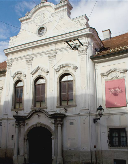 The entrance of the building of the Croatian History Museum in Zagreb.