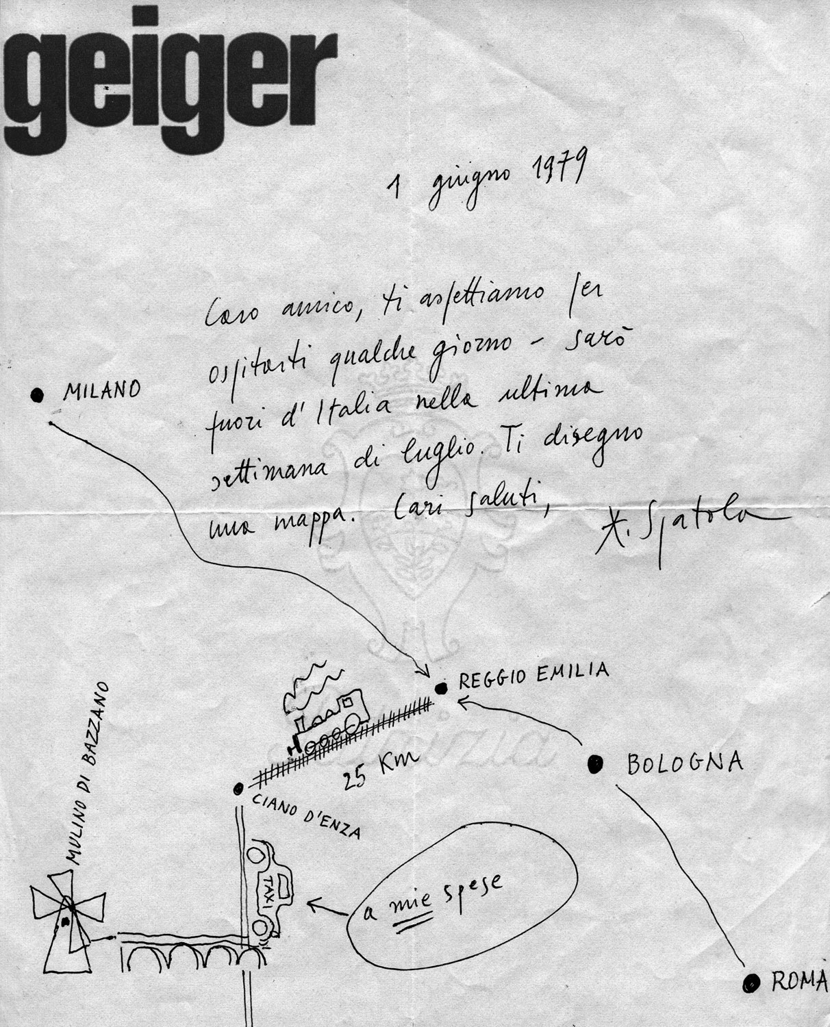 Invitation letter with map from the Italian visual and sound poet  Adriano Spatola to György Galántai and Júlia Klaniczay, 1979